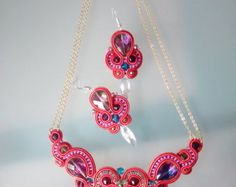 Items similar to White, Cream and Silver Bridal Soutache necklace on Etsy