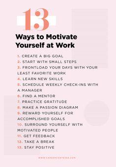 Lacking motivation at work? We hear you. Here are 13 ways to reinvigorate your work life. Lacking motivation at work? We hear you. Here are 13 ways to reinvigorate your work life. Work Goals, Career Goals, Career Advice, Career Planning, Career Change, Life Goals, Job Career, Robert Kiyosaki, Personal Development