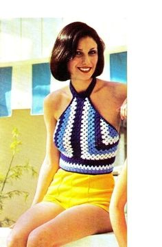 Vintage 70's Crochet Halter Top  PDF Pattern  by KinzieWoolShop