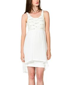 Look at this Off-White Sequin Maternity Hi-Low Dress on #zulily today!