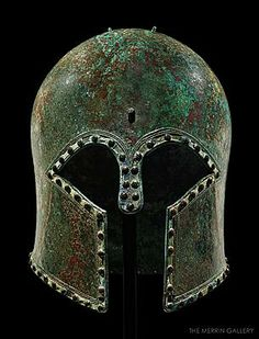 A Corinthian helmet with silver rivets and ivory inlays Bronze Height cm Greece, early century BC Ancient Greek Art, Ancient Romans, Ancient Greece, Ancient History, Greek Artifacts, Ancient Artifacts, Archaic Greece, Greek Helmet, Corinthian Helmet