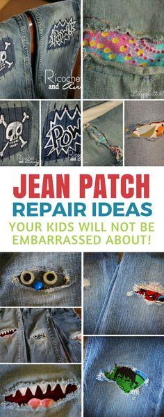 Jean Patch Repair Ideas - these ideas are so cute and fun that your kids will actually ask you to patch up their holey jeans! #diy #frugal #mom #hack