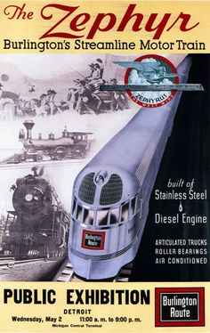 Zephyr Burlingtons Streamline Motor Train 1934 - www.MadMenArt.com features…