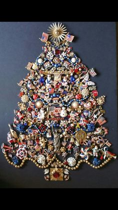 Almost final draft of my patriotic jewelry Christmas tree!