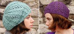 Openwork knit beret