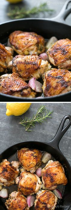 Skillet Lemon Rosemary Chicken ~ EASY, 1-pot! Chicken thighs rubbed and marinated with lemon, rosemary, garlic, then seared in skillet and finished in oven. #paleo #lowcarb #dinner #glutenfree Get the recipe on SimplyRecipes.com