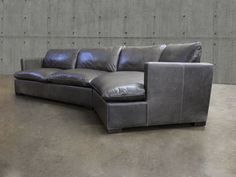 Reno Leather Sectional Sofa with Cuddler - Top Grain,...