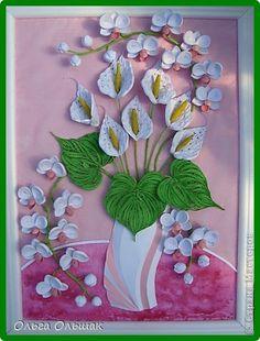 Картина панно рисунок День рождения Квиллинг Дуэт+mini МК Акварель Бумага гофрированная Бумажные полосы Проволока Соль фото 2
