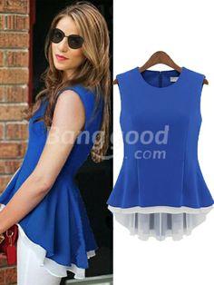 Zanzea® Stitching Vest Chiffon Blouse