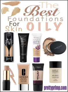 The best matte foundations for all you oily skin girls out there! Matte foundation from the drugstore as well as high en Oily Skin Makeup, Moisturizer For Oily Skin, Oily Skin Care, Oily Skin Routine, Makeup Routine, Best Foundation For Oily Skin, Drugstore Foundation, Too Faced Natural Eyes, Matte Makeup