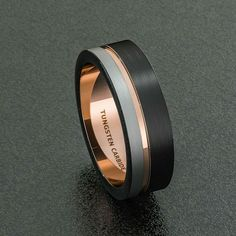 Men's tungsten and rose gold wedding band