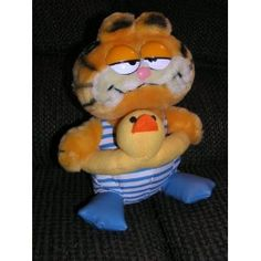 """Vintage Plush 9"""" Garfield the Cat in Swimsuit with Duck Float and Fins Doll"""