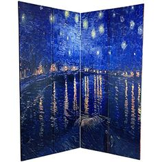 Amazing Oriental Furniture 6 ft. Tall Double Sided Works of Van Gogh Canvas Room Divider - Irises/Starry Night Over Rhone