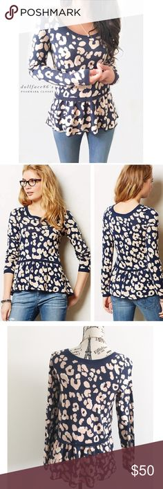 """Anthropologie Moth Peplum Sweater ✦ this peplum sweater has a light pink + navy blue leopard print knit with little white stitched detailing. It's a cute top to dress up or down  ✦{I am not a pro photographer, color of item may vary ➾slightly from pics}  ❥chest:17.5"""" ❥waist:18"""" ❥length:24""""/26"""" ❥sleeves:24.5"""" ➳cotton+acrylic+nylon/hand wash ➳fit:style might work for sml too, stretch in knit  ➳condition:very gently used/newer condition  ✦20% off bundles of 3/more items ✦No Trades  ✦NO HOLDS…"""