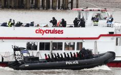 Police counter - terror simulation exercise on the Thames