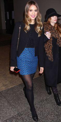 Blue mini skirt | Black tights = Jessica Alba
