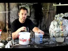 ▶ Making paper clay -- Part 5 of 8 - Paper Mache Pumpkin Head How-to - papperslera av toapapper skollim och spackel