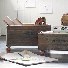 rustic rolling storage crates from Serena & Lily