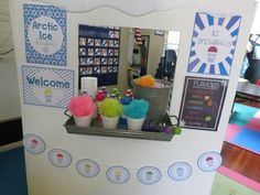 It it snow cone time! Weather it is hot or cold it is always a good time for preschoolers or kindergartners to pretend play with a snow coned themed dramatic play center. The Arctic Ice Snowballs play center is a perfect to inspire children's im Snow Dramatic Play, Dramatic Play Themes, Dramatic Play Area, Dramatic Play Centers, Beach Theme Preschool, Preschool Themes, Preschool Classroom, Classroom Ideas, Preschool Learning