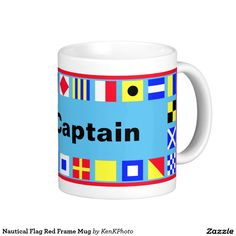 Nautical Flag Red Frame Mug- We've made a red framed version of this gift.  Blue background can be changed.