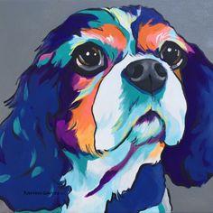 12x12 acrylic pop art cavalier king charles portrait. custom work welcome