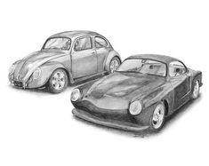 Classic VW pencil drawings