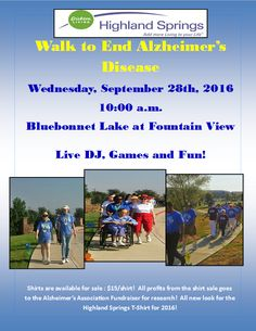 SUPPORT HIGHLAND SPRINGS' ALZHEIMER'S WALK SEPTEMBER 28, 2016