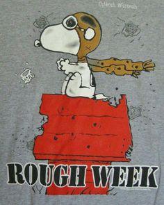 Peanuts Snoopy Red Baron T-shirt Large Rough Week Oshkosh Wisconsin Gray Mens