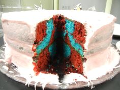 RED AND BLUE VELVET CHECKERBOARD CAKE