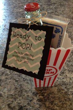 """Baby shower favor idea """"Ready to pop"""" glass coke bottle (cracker barrel), mini popcorn, in a popcorn bucket (dollar tree)"""