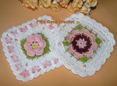 \ PINK ROSE CROCHET /: Quadrado Branco com Flor Colorida