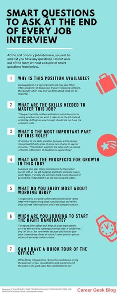 infographic : infographic : Do Ask These Questions At The End Of A Job Interview  #jobsearch