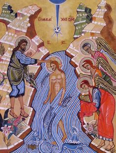 Image result for Baptism of Jesus with angels icon