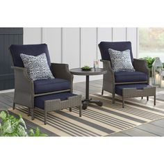 Hampton Bay Grayson Ash Gray Wicker Patio Small Spaces Chat Set with Midnight Blue Cushions - The Home Depot Small Patio Furniture, Outdoor Lounge Furniture, Furniture Layout, Outdoor Decor, Asian Furniture, Furniture Plans, Furniture Logo, Kids Furniture, Coaster Furniture