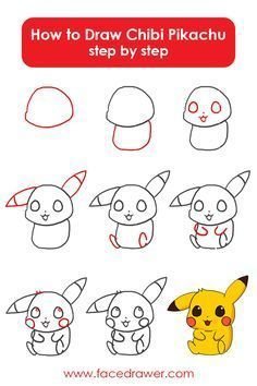 Pikachu is your favorite Pokemon? Learn to draw this very cute Chibi Pikachu. Simply observe alongside the simple steps and discover ways to draw chibi Pikachu. Cute Easy Drawings, Cute Animal Drawings, Kawaii Drawings, Disney Drawings, Cartoon Drawings, Drawing Disney, Drawing Lessons, Drawing Tips, Drawing Ideas
