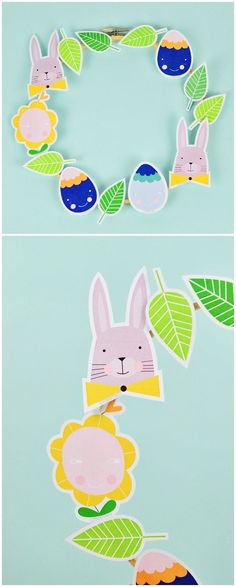 Adorable Paper Easter Wreath with Free Printable Template. Can also make Easter garlands and Cards.