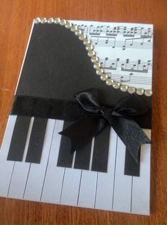 Card Making Ideas Gorgeous handcrafted piano card finished with diamante's, sheet music and a bow. It's the perfect card for your piano loving friend or a thank you card for your piano teacher. Teachers Day Greeting Card, Teacher Thank You Cards, Handmade Birthday Cards, Greeting Cards Handmade, Music Greeting Cards, Handmade Bookmarks, Paper Cards, Diy Cards, Musical Cards