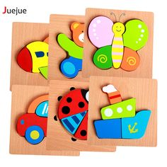 Wooden 3D Puzzle Jigsaw Wooden Toys For Children Cartoon Animal Puzzle Intelligence Kids Educational Toy Toys #Affiliate
