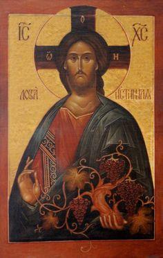 "Russian Icon Print on Canvas Limited Edition ""Christ The True Vine"" Description: Icon limited edition piece, ""Christ The True Vine"" commissioned by the Orthodo"