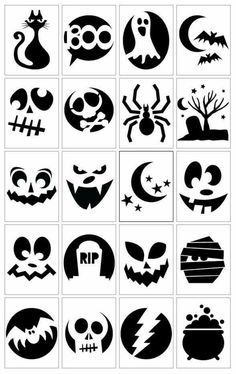 Still got that pumpkin to carve? Try one of these simple but spooky pumpkin carving templates from Vivint. The hardest part of this will be choosing which one to use! I bet you could also adapt the… Printable Halloween, Theme Halloween, Halloween Scrapbook, Holidays Halloween, Halloween Pumpkins, Halloween Crafts, Happy Halloween, Halloween Templates, Halloween Quotes