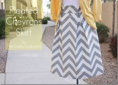 Pleated Chevron Skirt