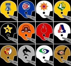 World Football League helmets Nfl Football Helmets, Football Uniforms, Sport Football, Football Cards, Football Stuff, World Football League, American Football League, Sports Team Logos, Sports Art