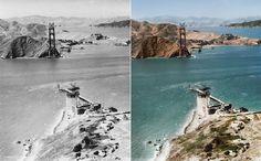 Imagem de 1934 mostra a ponte Golden Gate, cartão-postal de São Francisco, nos Estados Unidos, quando ainda era um canteiro de obras!