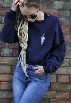 NEW IN - Middle Finger Salute Navy Crop Top