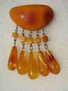 Vintage Russian amber brooch
