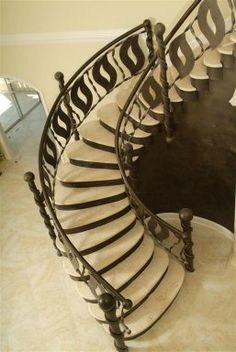 Artistic Metal Staircase with Marble