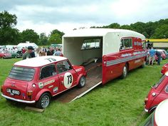 BMC Build as a replica of the BMC The Comp& race transporter. Mini Trucks, Cool Trucks, Cool Cars, Weird Cars, Classic Mini, Classic Cars, Red Mini Cooper, Automobile, Car Carrier