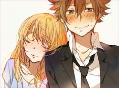 Kyoko and Tsuna Well she was his former crush