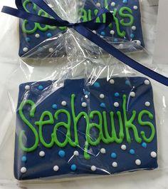 1 Dozen  Seahawks cookie designs party favors by MySugarStudios, $48.00