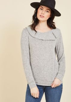 Allow yourself to be soothed by the comforting softness of this light grey sweater! Made extra cozy with a banded hemline and cuffs, and given a lovely touch of style by an asymmetrical split collar, this super-soft, ModCloth-exclusive top has a divinely relaxing influence on you and your wardrobe.
